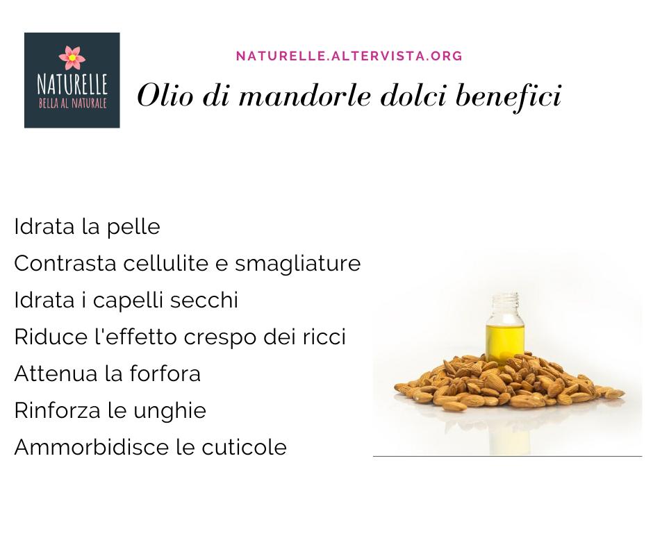 Olio di mandorle dolci benefici per pelle,capelli e unghie