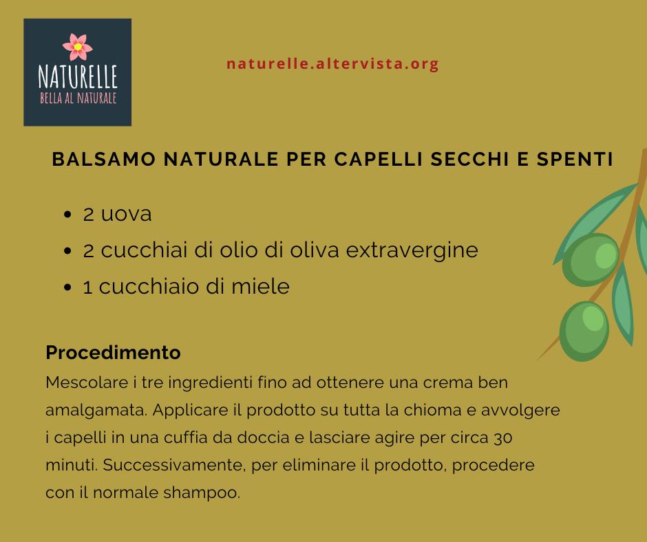 balsamo naturale per capelli secchi all'olio di oliva