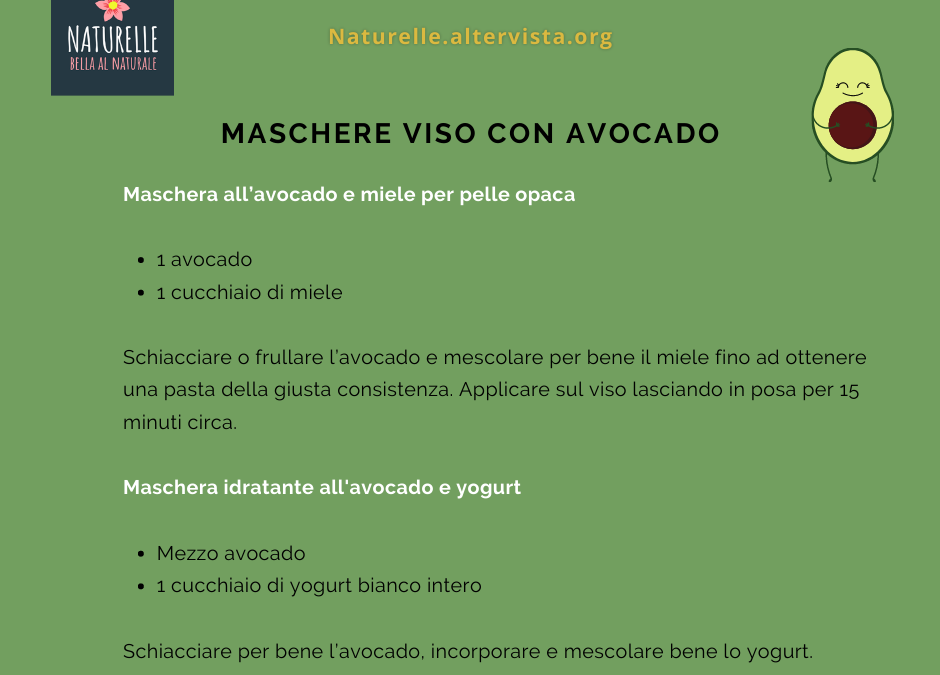 Maschere viso all'avocado per una pelle idrata e luminosa