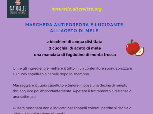 Maschera fai da te antiforfora lucidante all'aceto di mele
